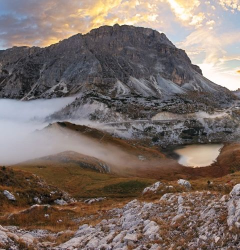 Sunset at Valparola pass in autumn